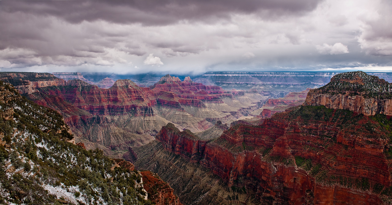 Grand Canyon Panorama -  From our perch several thousand feet above the canyon floor we watched as snow storms passed over and through this dramatic view.  The biting wind was near freezing and made it hard to stand still and concentrate on capturing the ever changing spectacle that only the Grand Canyon can provide.  Just another day at the office!