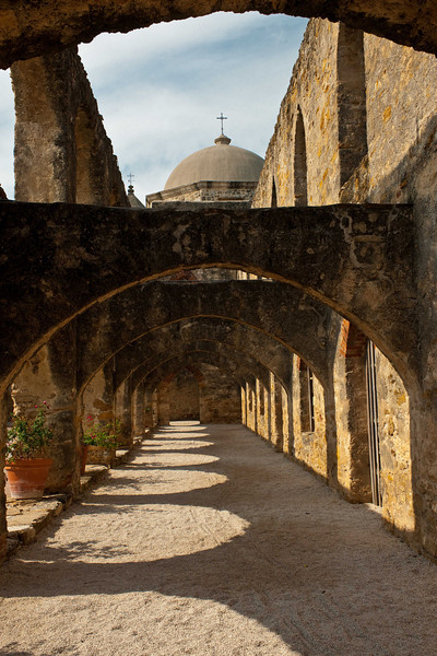 """Mission San Jose """"Hall of Arches"""", looking North."""