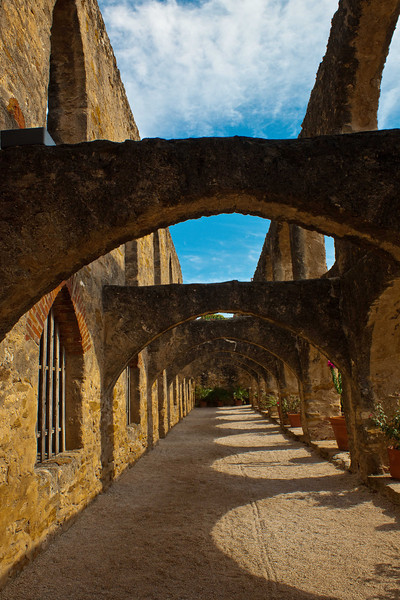 "Mission San Jose ""Hall of Arches"" looking South."