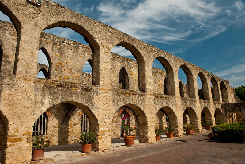 """Mission San Jose """"Hall of Arches"""" looking East."""