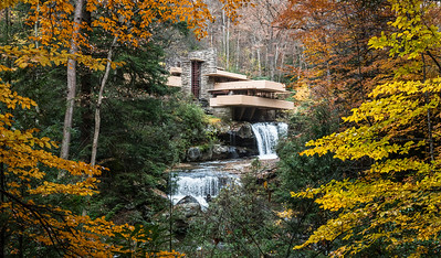 "Frank Lloyd Wright's residential masterpiece ""Fallingwater"" located in Mill Run, PA in its full  autumn splendor"