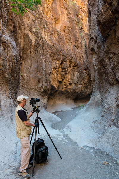 Rick photographing in Closed Canyon. Big Bend State Park.