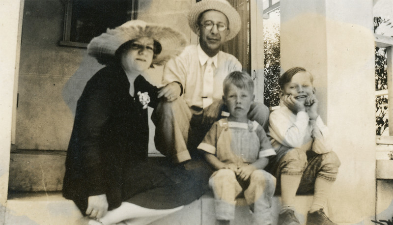 Bertie Ward's younger brother Schuyler Lamoreaux, his wife Theresa, their son Anthony (right) and Frank McDonald (center). The Lamoreauxes visited from Michigan.