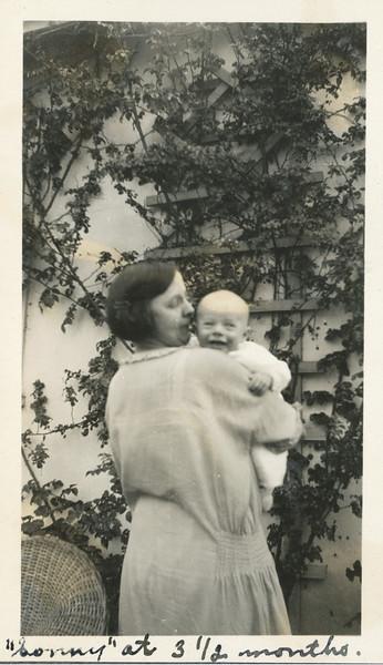 Gladys McDonald holding Frank at 3 1/2 months.