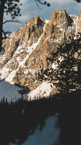 Peeking Through | Rocky Mountain Landscapes Dream Lake Peaks