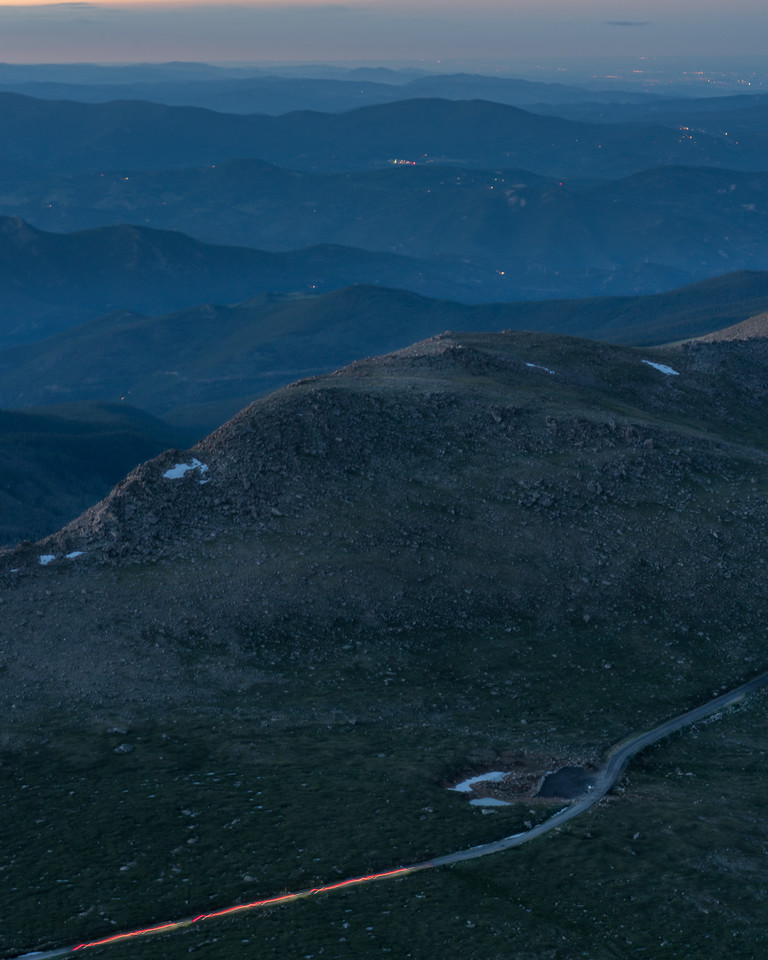Car Trails and Blue Hours, Mt. Evans Summit, Colorado