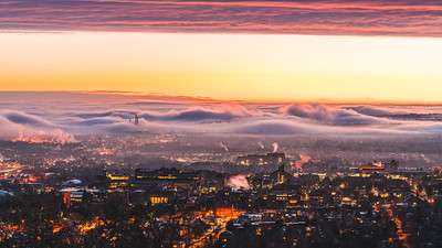 Frankieboy Photography |  Boulder Cloud Inversion Red Glow | City Photography