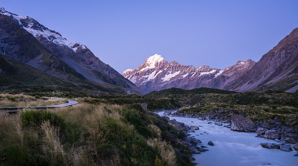 Hooker Valley Track at Pink Alpine Sunset