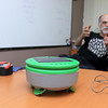 """Franklin Robotics in Billerica is developing a solar-powered weeding robot for home gardens which they are calling The """"Turtill."""" CTO and FounderJoe Jones talks about their new robot, sitting in front of him, and how it works in their offices on Wednesday, June 21, 2017. SUN/JOHN LOVE"""