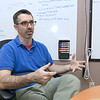 """Franklin Robotics in Billerica is developing a solar-powered weeding robot for home gardens which they are calling The """"Turtill."""" CEO and Founder Rory MacKean talks about their new robot and how it works iin their offices on Wednesday, June 21, 2017. SUN/JOHN LOVE"""