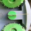 """Franklin Robotics in Billerica is developing a solar-powered weeding robot for home gardens which they are calling The """"Turtill."""" A close up of the cutter that spins to down the weeds. SUN/JOHN LOVE"""