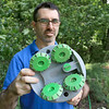 """Franklin Robotics in Billerica is developing a solar-powered weeding robot for home gardens which they are calling The """"Turtill."""" CEO and Founder Rory MacKean show off the wheels and the cutter that takes out the weeds. SUN/JOHN LOVE"""