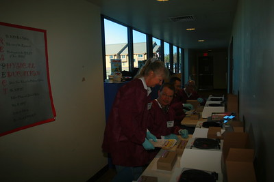 Lions Volunteers from left Claudia Diamond, Will Arduino, Frank Parker and Bob Bielenberg run our centrifuge operation.