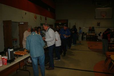 A hungry bunch of volunteers at the Fraser 9HealthFair - volunteers visible in the picture include from left, Dolores Storer, Joyce Engle, Pam Brown, Bob Temple, Fran Cook, Ray Jennings, Jennifer Neumann and Mikee Tennant.