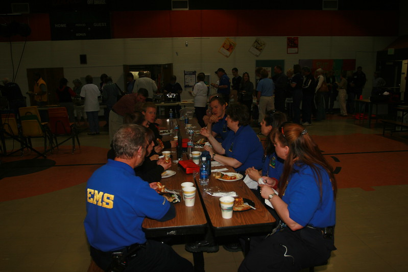 Wow - after working with 585 customers, our EMS staff, EMS students and 110 volunteers enjoy food provided by Devils Thumb Ranch and the Winter Park Pizza Hut