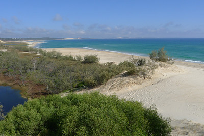 Maloo Bay from the sand blow, looking towards Sandy Cape, Orchid Beach village on the left.