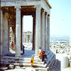 Shirley and Dorthey Antrobus in front of the Temple of Athena on the north side of Erecthien..Near the North entrance.   1968