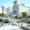Temple of Athena Nike or Nike Apteros, Wingless Victory for victory will stay forever without wings on right.The Propylaea entrance gate with steep prossional stairs  427-424 BC .  Lightning blew up a Turkeish powder magazine near here doint much damage.The Persion wars ended 455  BC.