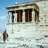 Shirley, Fred, Craig and Dorothy Antrobus in front of Erechtheion.  This front is called the Caryarid Porch.  The figures have been replace.  One original is in the British Natl. Museum and the rest are in the museum in Athens. 1968