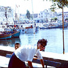 Waiting for the Chanokale Ferry with Rob and Gloria Richardson. 1968. We are on our way to Istanbul. Shirley Antrobus.