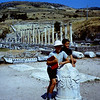 The Asciepiem Agora, market place.  near Bergama.  Fred and Craig on a broken column.