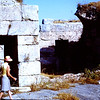 Shirley and Christine in front of the Gynasiun of Venice in Ephasus. July 68  Note the lintel above the door.