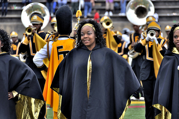 Douglass High School Band Northstarette Raquia Battle on field prior to start of Homecoming Game