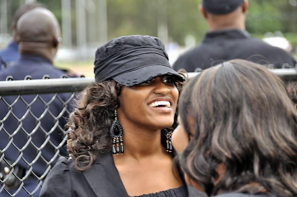 Ms. Funderburk, Douglass HS Northstarette Choreographer enjoying moments before Homecoiming festtivires at Lakewood Stadium
