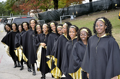 Douglass HS Northstarette psoe before enterong Lakewood Stadium for Homecoming Game