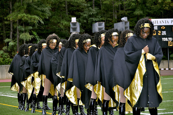 Douglass HS Northstarettes prepare to take teh field for Homecoming halftime festivities at Lakewood Stadium