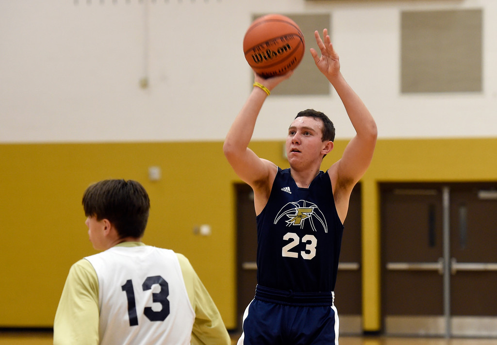 . BOULDER, CO - NOVEMBER 23, 2018: Frederick High School\'s Joe Cartelli takes a shot during basketball practice on Friday at Frederick High School. More photos: BoCoPreps.com (Photo by Jeremy Papasso/Staff Photographer)