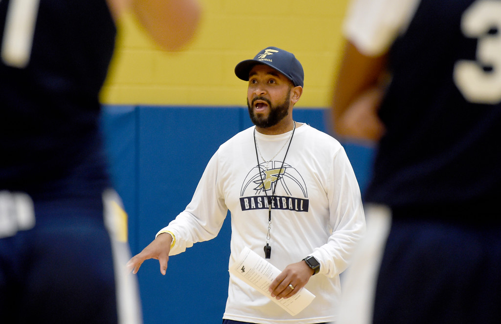. BOULDER, CO - NOVEMBER 23, 2018: Frederick High School\'s Head Coach Enoch Miller talks with his team during basketball practice on Friday at Frederick High School. More photos: BoCoPreps.com (Photo by Jeremy Papasso/Staff Photographer)
