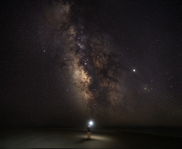 Milky Way Composite taken at Oak Island North Carolina on the Point. Self Portrait.