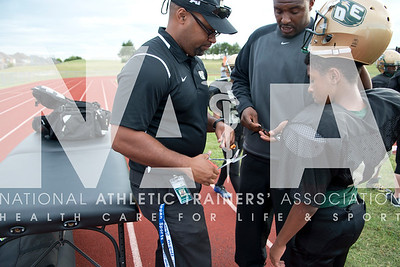 Renee Fernandes/ NATA Christopher McMahan, LAT, works with athletes at DeSoto Middle School where he works full-time.