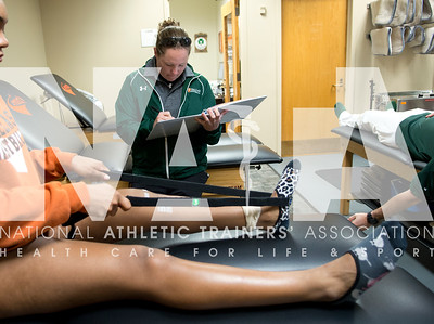 March, 2016, photo by Renee Fernandes/NATA Tracy Lott, MS, ATC, LAT, an athletic trainer at UT-Dallas, works with athletes in the training room before heading out to the softball field to cover the game.