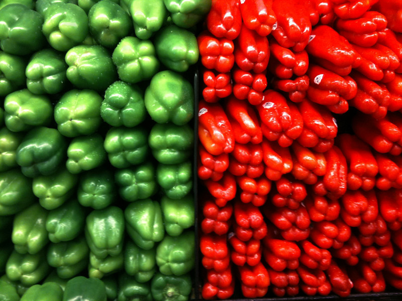 "Green and red peppers stacked in the produce market.  The ""XLarge"" and smaller photo sizes are FREE for any personal use (under a <a href=""http://creativecommons.org/licenses/by-nc-nd/2.0/"">Creative Commons</a> license). Click the ""Buy"" or shopping cart button (above the image) to purchase prints or downloads. PRICING: 1-megapixel Personal downloads are $4.95; 4-megapixel Personal downloads are $49.95; 1-megapixel Commercial downloads are $49.95, 4-megapixel Commercial downloads are $199.95; NOTE: Free personal use requires a photo credit to my company, ''<a href=""http://www.tssphoto.com/"">The Stock Solution</a>'', and link to that Web site if you use the image on a personal Web site."
