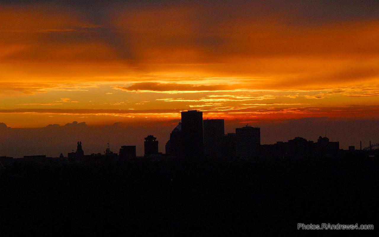 Sunset, Rochester skyline