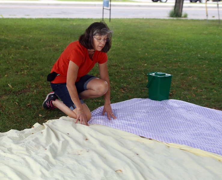 HOLLY PELCZYNSKI - BENNINGTON BANNER Kathy Cutler, volunteer at the  St. Peter's Episcopal Church organizes blankets and prepare picnic style free lunches for children under 18 on Wednesday afternoon in Bennington.