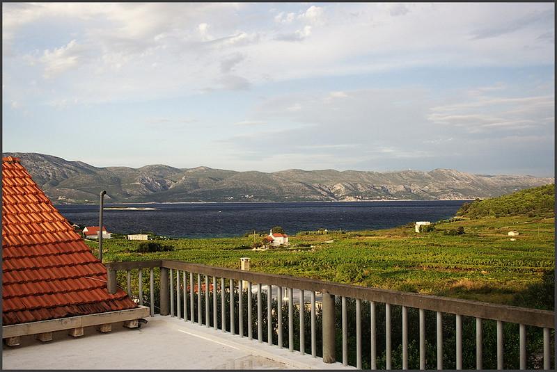Výhled z terasy apartmánu na Pelješac a vinice