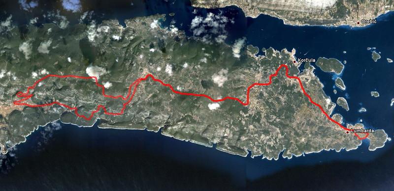 Ještì jedna okružní cesta po ostrovní magistrále a kolem Pupnatske Luky, tentokrát za svìtla a opaèným smìrem