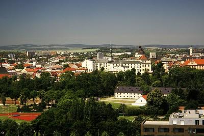 Pohled z BEA centra na centrum Olomouce