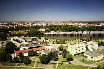 Pohled z BEA centra směrem k centru Olomouce, v popředí přírodovědecká fakulta