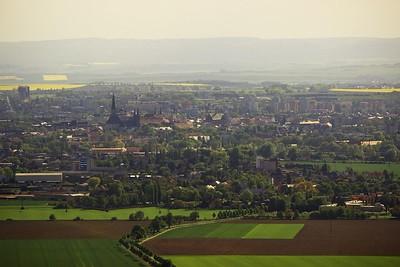 Pohled z věže rozhledny na centrum Olomouce.