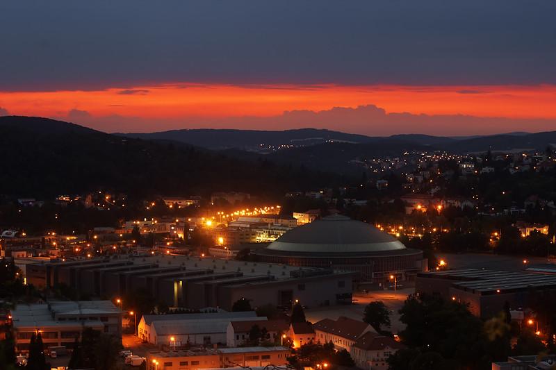 Pohled přes Pisárky směrem na Komín a Bystrc