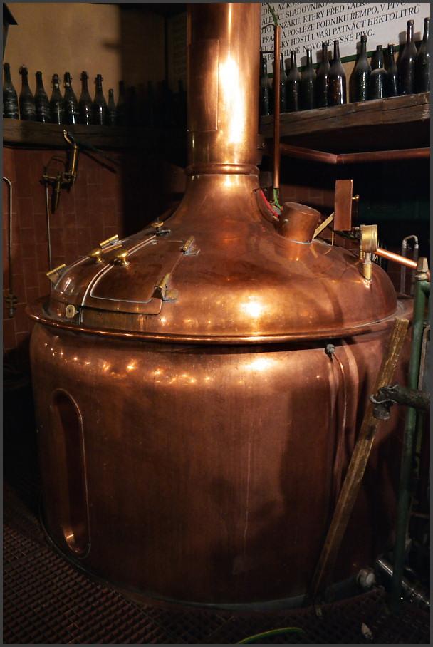One of the beer boilers making the great beer in Novoměstský pivovar.  Jeden z kotlů, ve kterých vaří Novoměstský pivovar své výtečné pivo.