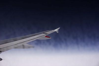 Kdesi nad Německem - na okně se při startu vytvořila poměrně výrazná námraza, která během letu mizela jen velmi pomalu.