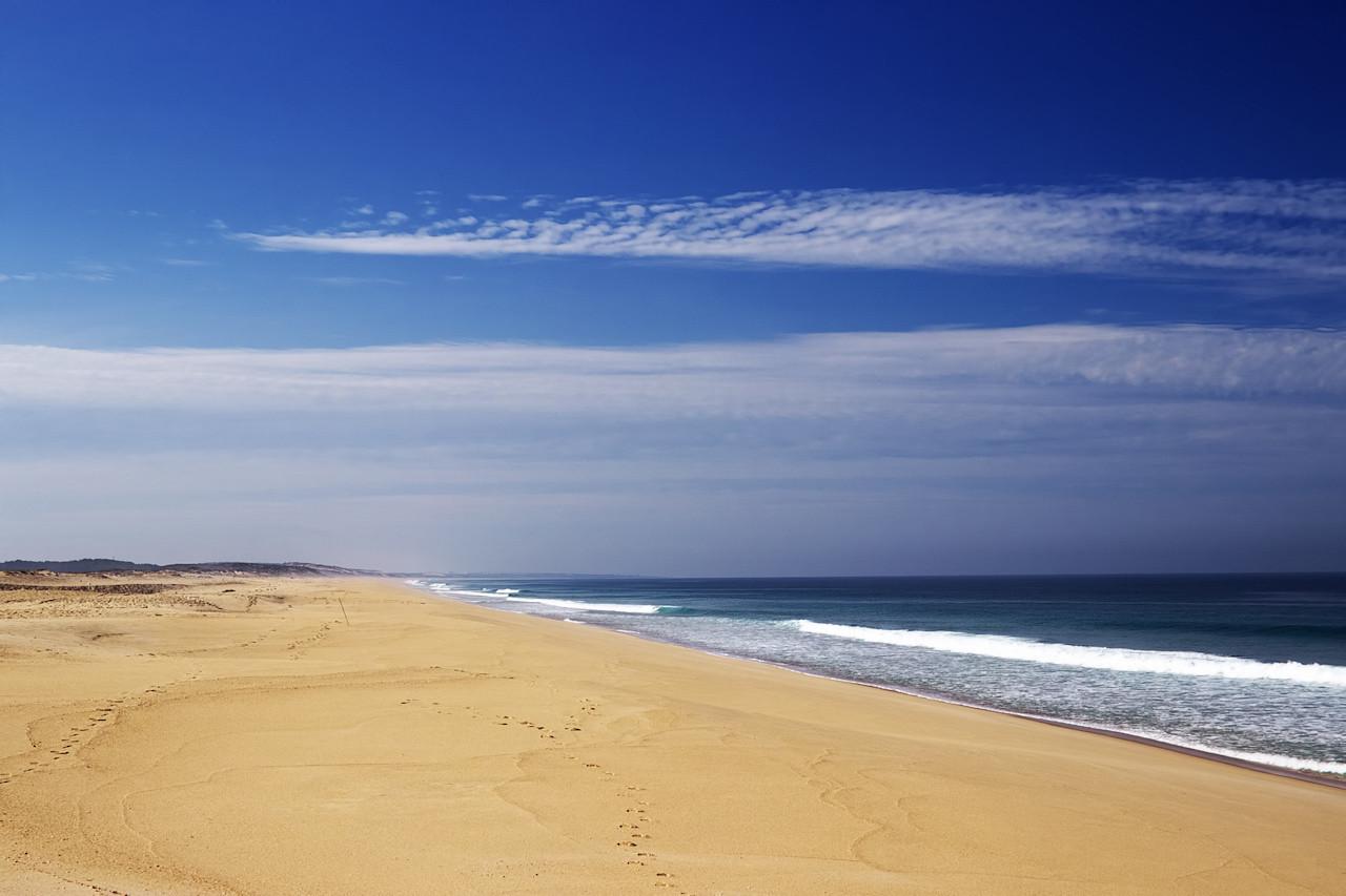 Dvacet kilometrů pláže směrem k městu Sines