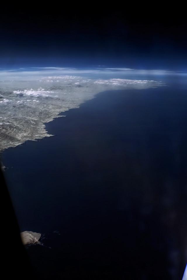 Infračervené severní španělské pobřeží u Gijónu a Aviles