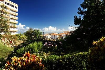 Hotelová zahrada - výhled směrem k pobřeží