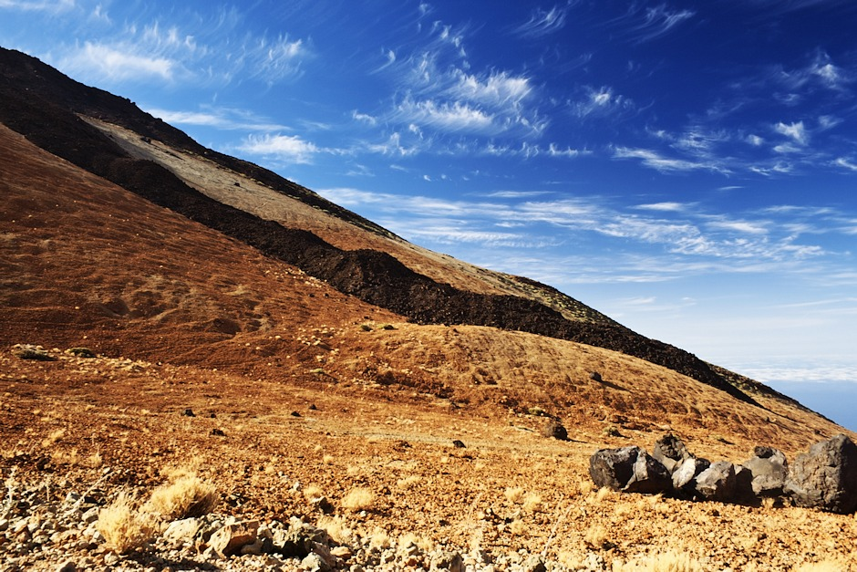Lávové proudy na úbočí Teide